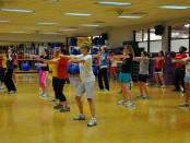 Group fitness, cardio class in the gym photo