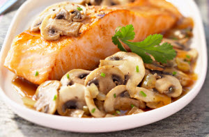 Mushrooms and salmon